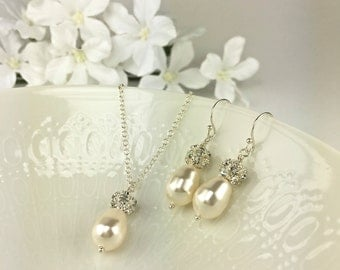 Bridal Jewelry Set Ivory Pearl Bridal Necklace Earring Set Swarovski Creamrose Light Pearl Sparkle Ball Teardrop Pearl Crystal Ball Rachel