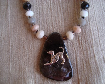 Greyhound necklace with large pendant, sterling Greyhound and glass beads