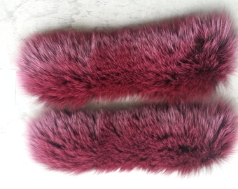 Pair of Premium Burgundy Fox Fur Trim Pieces or Cuffs -Lot No. 160612-C