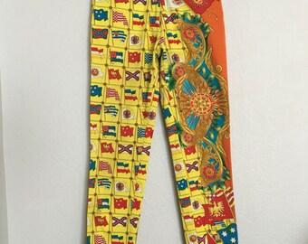 Vintage 1990s Gianni Versace Flag Print Yellow Pants