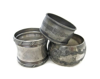 Victorian Era Napkin Ring Trio, Silverplate Set of 3 Antique Napkin Rings