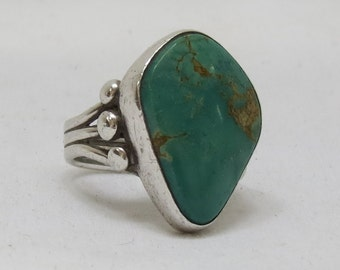 Turquoise and Sterling Ring, Signed
