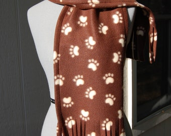 Brown and Cream Paw Print Fleece Scarf