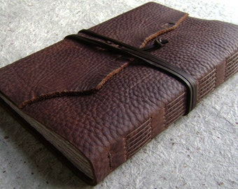 """Old World Leather Journal, 6""""x 9"""", rustic dark brown journal, handmade leather journal,(2216)"""