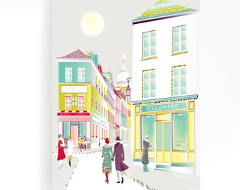 Paris Montmartre 1920s, Framed Mounted Wall Art, Canvas, Street scene, Cityscape, illustration, Ready to hang, retro, vintage, baby, childs