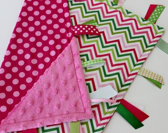 Free shipping!, READY TO SHIP, taggie blanket, minky, baby, girl, gift, satin, silky, sensory, ribbon, tag, lovey, chevron, polka dot, pink,