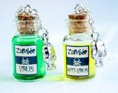 Zombie virus and anti-virus vial necklaces, two bottles jewelries, glass, the walking dead, skull charm, best friend gift, BFF, pendant