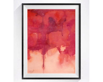 Modern Abstract Art Abstract Print Intuitive painting Red abstract print Watercolor Modern wall art Decorative abstract print Muren N