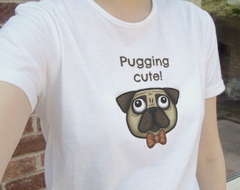 Cute gormless pug dog animal illustration, white tee, T-shirt, tshirt, gift | mens womens unisex sizes