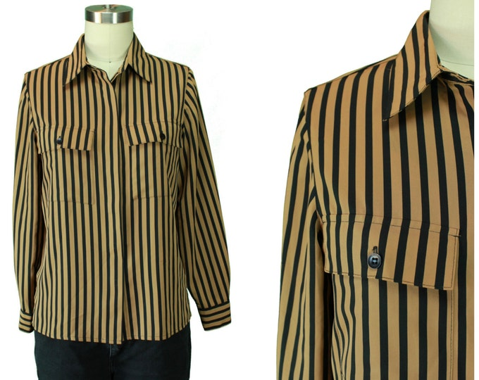 Vintage Striped Blouse/ Pocket Front Blouse/ Black and Tan Blouse/ Vintage Button Front Shirt/ Striped Button Up Blouse