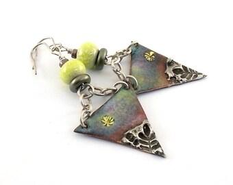 Colorful Soldered Enamel Earrings - Tribal Earrings - Artisan Earrings - Industrial Earrings - Boho Earrings - Silver Earrings - AE155