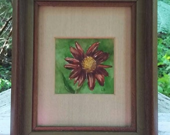 Gerber Daisy Vintage Framed Watercolor Fall Decor