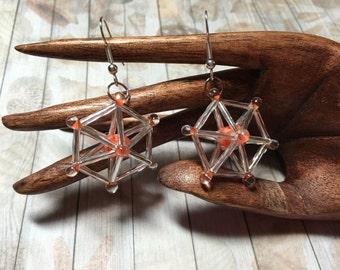 Carousel Earrings Silver and Orange Glass Beads