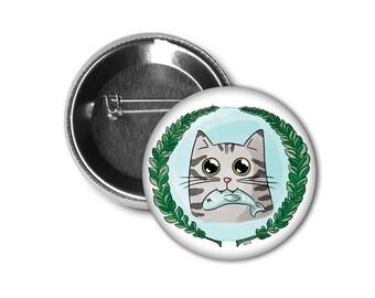 "1"" Pin/Macaron Hungry Cat"