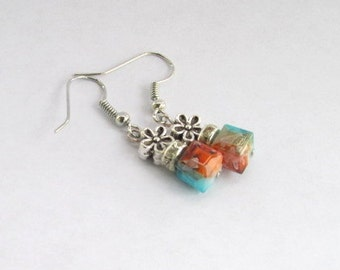 SALE!-Southwestern Cube Earrings, Variegated Earrings, Drop Earrings, Chandelier Earrings, Turquoise Earrings, Aqua Earrings, Cube Earrings
