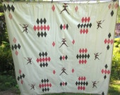 Vintage Mid Century Harlequin Jester Diamond Shower Curtain White Pink Black