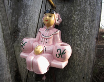 Vintage Asian Woman Figurine Ceramic Sconce Wall Light With Wall Pockets