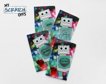 Valentine Scratch Off Card Kit- (25 cards) Robot Kids Classroom Valentine DIY Scratch Off Labels and Envelopes
