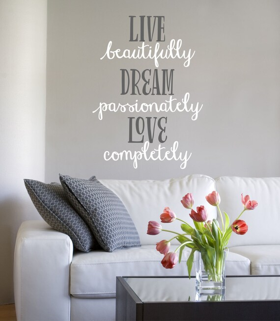 live dream love master bedroom wall decal vinyl wall quote decals
