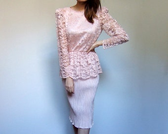 Pale Pink Dress Women 70s Long Sleeve Lace Cocktail Peplum Party Dress Pencil Skirt - Small S