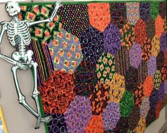 Halloween Hexagons Handmade Quilt
