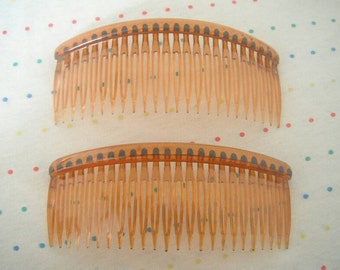 "Large Pair of Translucent Honey Brown Plastic Hair Combs, 5"" Wide"