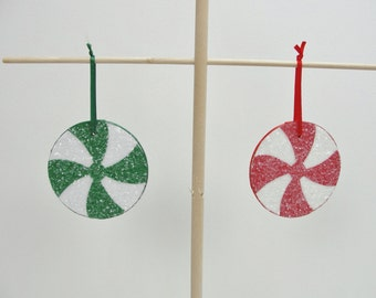 """Candy ornaments, peppermint candy ornament, 3"""" ornament.  Choose 2"""