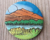 Dusk Mountain Polymer Clay Pendant