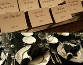 Simple elegant Place cards. Escort cards. Black and white. Folded card. Wedding. Bar mitzvah. Corporate party. Holiday. Wedding place cards