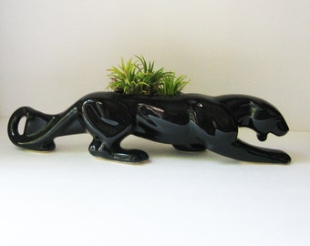 Vintage Stalking Black Panther Planter, Glossy Mid Century Pottery