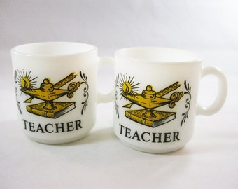 Vintage Milk Glass Teacher Mugs, Lamp of Knowledge design
