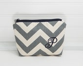 Makeup Bag with letter P, chevron zigzag stripes, Small Chevron makeup bag, personalized bag, initial P bag, gray makeup bag