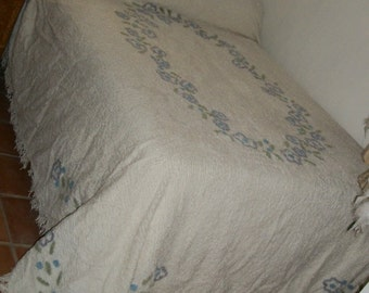 1940s Vintage White Cotton Chenille Bedspread Queen Size Fringe Floral Made in India Exec Cond