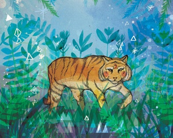 SALE: Tiger in the Night A3 Print with ink marks - Sale Artwork - Gift for Animal Lovers - Nature - Tropical Safari Art - Tiger Art