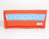 Handmade mandarin orange Casey clutch with vintage floral trim