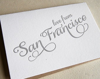 Letterpress Greeting card - Regional Love from San Francisco