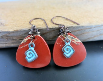 Red River Jasper Earrings, Guitar Pick Shape, One of a Kind Earrings, Ready to Ship