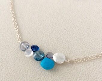 Semiprecious Blue Gemstone Bar Necklace in Sterling Silver, London Blue Topaz, Mystic Quartz, Turquoise, Rainbow Moonstone, Kyanite, Iolite