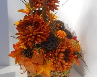 Silk Zinnia Flower Arrangement, Floral Table Centerpiece