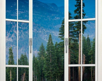 Wall mural french door, self adhesive, View from Glacier Point, Yosemite, CA- 48x72- free US shipping