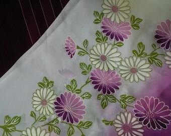 Japanese fabric Vintage Set of 2 Purple (flowers and stripes) Furoshiki Wrapping Cloth scarf nylon