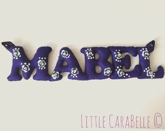 Handmade Personalised Wool Blend Felt Name Banner - vintage rose theme. Perfect for a Nursery, New Baby, Christening, Bedroom