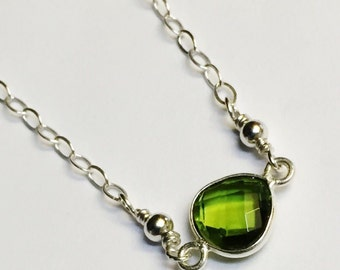 Peridot Necklace   Peridot Gemstone Necklace  Peridot Jewelry  August Birthstone  August Birthday