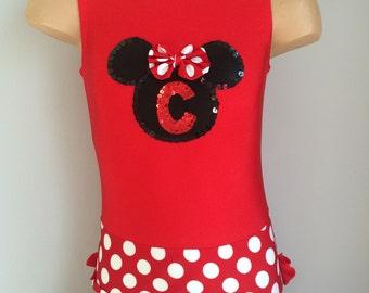 Red Gymnastics Dance Leotard with Minnie Mouse Applique. Dancewear. Performance Costume. SIZES 2T - Girls 10