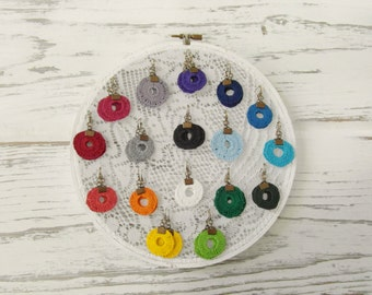 Gum Drops / Hand Painted Antique Crochet Circular Earrings / Lightweight Upcycled Eco Friendly Earrings