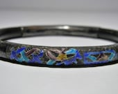 Antique Chinese Silver Enamel Bracelet Wood Bangle Bamboo Rattan Vintage Export