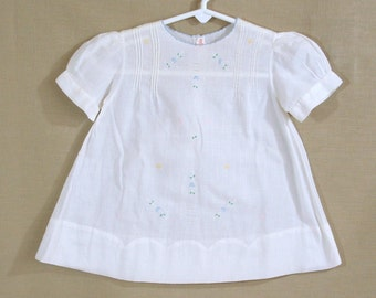 Vintage Dainty White Baby Dress, Blue and Pink Embroidery