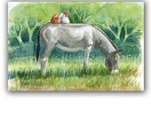 Donkey Red Hen Chicken White Rooster LLMartin Original Watercolor Painting  Country Gray Burro  Free First Class Shipping USA