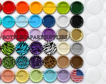 "500 pc Clear  1"" Epoxy Resin  Adhesive Circles Bottle Cap Seal Stickers and 500 Double Sided FLAT COLORED Bottle Caps  You Choose Colors"