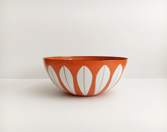"Vintage CATHRINEHOLM Orange Lotus Enamelware Bowl 9.5"" Mid Century Modern Norway"
